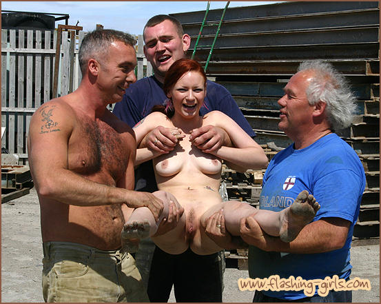 naked girl handeled by a group of men NIP
